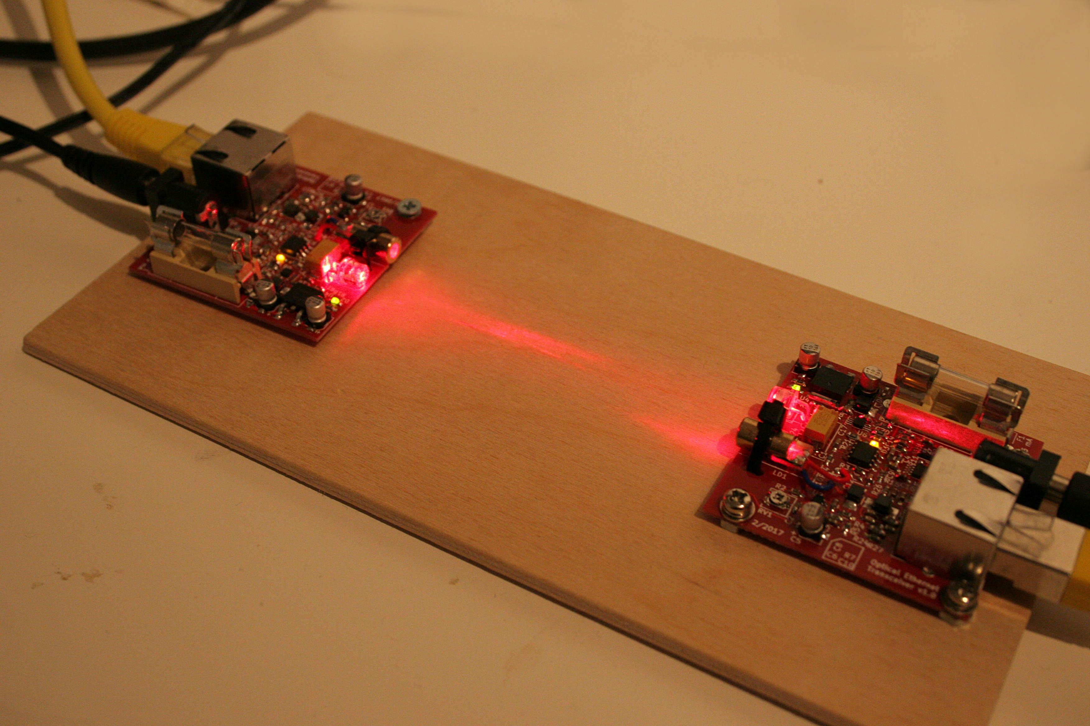 Homemade 10 Mbit/s Laser / optical Ethernet transceiver